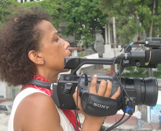 Rachele Magloire on the set of her documentary Deported