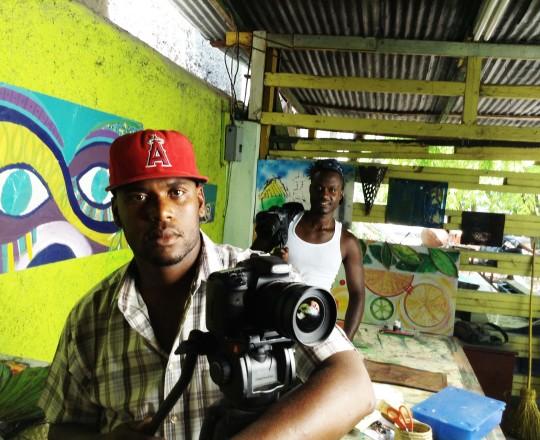 On the set of Rasin Mwen with director Rasin Mwen